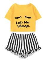 WDIRARA Women's Sleepwear Closed Eyes Print Tee and Shorts Pajama Set