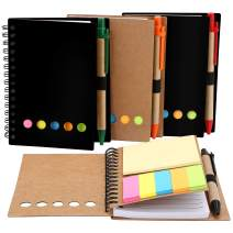 TOODOO 4 Packs Spiral Notebook Lined Notepad with Pen in Holder and Sticky Notes, Page Marker Colored Index Tabs Flags (Brown, Black Cover)