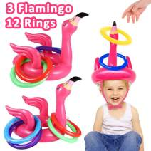 Camlinbo 3 Pack Flamingo Ring Toss Pool Game Toys, Inflatable Floating Pool Water Toys Family Beach Toys Carnival Outdoor Summer Pool Party Games for Kids Adults (3 Flamingo,12 Rings)
