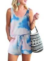 LOGENE Women's Summer Casual Tank Romper Scoop Neck Sleeveless Jumpsuit with Pockets