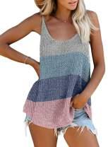 Acelitt Women Casual Summer Scoop Neck Tank Tops Flowy Blouses, S-XXL