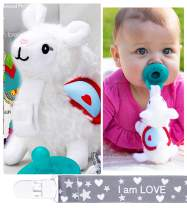 Pacifier and Teether Holder Set W Paci - Chain Clip - Plush Soft Toy Llama Stuffed Animal Detachable BPA Free 0+ Month Soothie Newborn Infant Baby Shower Gift Unisex for Girls Boys All Ages Must Have