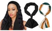GERINLY Minimalism Style Edge Scarf Black Wig Wrap for Workwear Sophisticated Neckerchief 2 Pack Headband for Travel (BlackGreen)