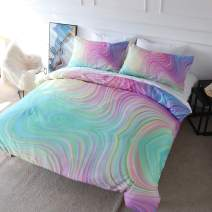 BlessLiving 3D Modern Pattern Bedding Set Duvet Cover Set Pastel Rainbow Marble Printed Comforter Cover 3 Pieces Bed Sets with 2 Pillow Cases (Twin)
