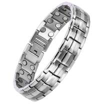 Titanium Magnetic Therapy Bracelet for Men Pain Relief for Arthritis and Carpal Tunnel (Silver)