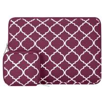 MOSISO Laptop Sleeve Compatible with 13-13.3 inch MacBook Pro, MacBook Air, Notebook Computer, Canvas Quatrefoil Bag Cover with Small Case, Wine Red