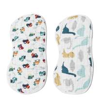 Muslin Burp Cloths Baby Burping Bibs 100% Organic Cotton 2-Pack Large 6 Layers Thick Soft Absorbent Cloth Spit Up Dribble Towels Rags for Newborns & Babies Shower Gift by ShoppeWatch BB22
