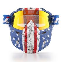 NENKI Motorcycle Goggles Mask NK-1019US For 3/4 Motorcycle helmets And Retro Harley helmet, Detachable Mask, US Flag Style   Patriot Graphic(Irridium Red Lens)