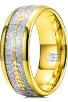 THREE KEYS JEWELRY 6mm 8mm Tungsten Wedding Ring Imitated Meteorite Gold Polished Band