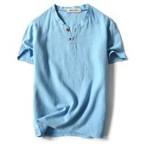 LOCALMODE Men Linen and Cotton V Neck Short Sleeve T Shirts Casual Tee…