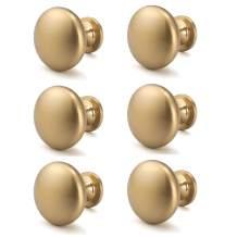 """NIZADO 6 Pack Solid Cabinet Knob Warm Gold Kitchen Drawer Knob Champagne Bronze,Euro Style Dresser Knob Antique Brass Furniture Hardware,Diameter:1-1/5"""""""
