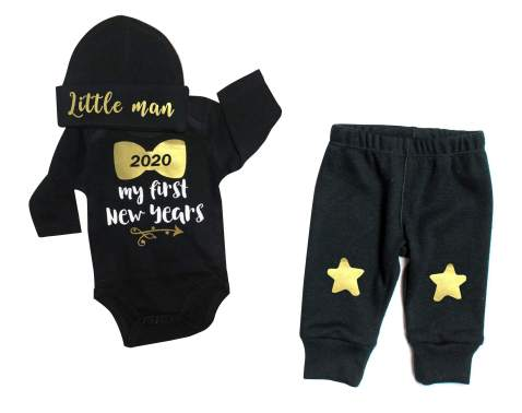 Newborn Baby Boys 1st New Year Clothes 2020 My First New Year Romper + Cute Star Pants + Little Man Hats 3PCS Outfit Set
