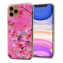 LayYun for iPhone 11 Pro Case, Anti-Scratch Shock-Absorption Crystal Clear Phone Cover Case with Design Embossed Floral Pattern for iPhone 11 Pro, 5.8 inch, 2019 (Pink Butterfly)