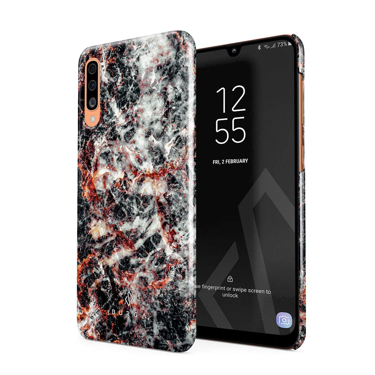 BURGA Phone Case Compatible with Samsung Galaxy A50 - Volcano Island Lava Fire Black Marble Cute Case for Girls Thin Design Durable Hard Shell Plastic Protective Case