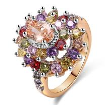 JIANGYUE AAA Grade Cubic Zirconia CZ Diamond Rhodium Rose Gold Plated Multi-Stone Ring for Women Girl Party Club Fashion Party Lady Women's Ring Jewelry Family