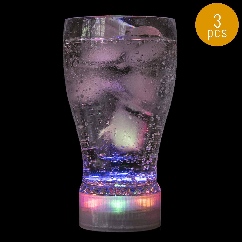 Lumistick LED Flashing Glass | Drinking Light Up Heavy Base Rocks Whiskey Barware Juicy Glowing Glass - 10oz (3 Glasses)
