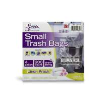 Color Scents Small Trash Bags - 4 Gallon, 200 Ct (Pack of 1) Drawstring Linen Fresh