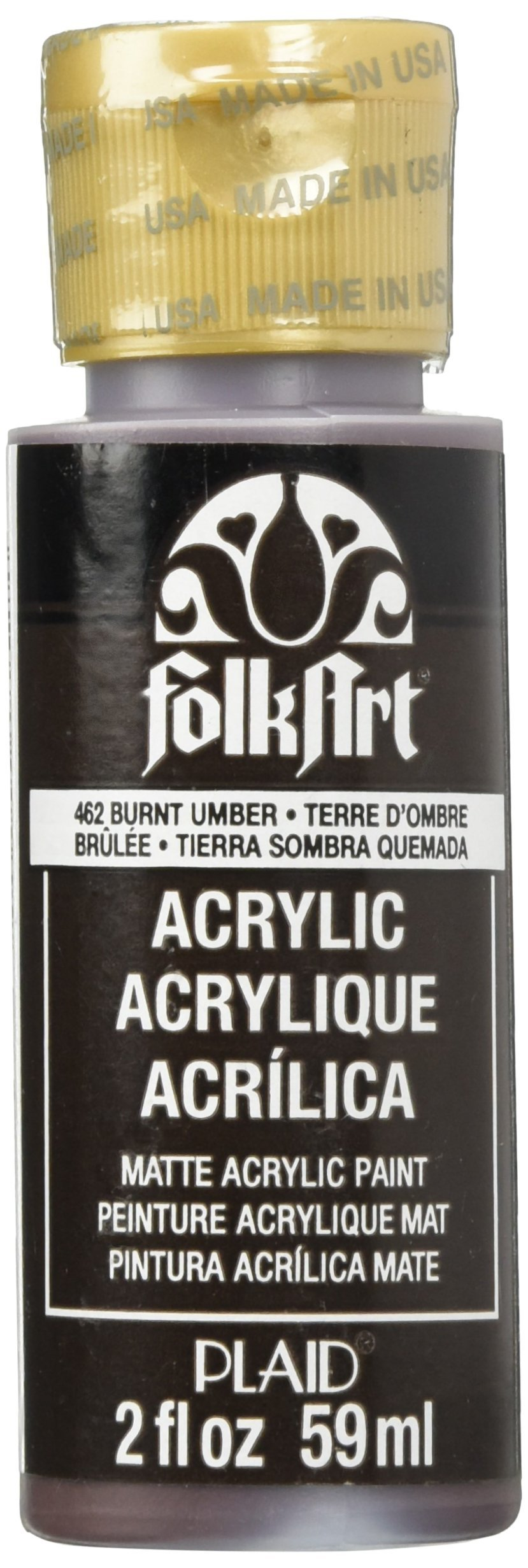 FolkArt Acrylic Paint in Assorted Colors (2 oz), 462, Burnt Umber