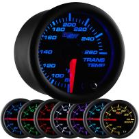 "GlowShift Black 7 Color 260 F Transmission Temperature Gauge Kit - Includes Electronic Sensor - Black Dial - Clear Lens - for Car & Truck - 2-1/16"" 52mm"