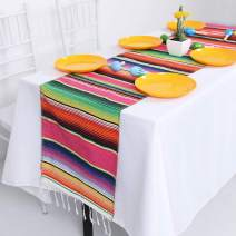 HELAKU Mexican Table Runner Pink Mexican Blanket Runner Colorful Mexican Runner for Mexican Party Decorations 5 Pack 14x108inches,Pink