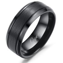 Caperci 8mm Black Tungsten Rings Brushed Finish Beveled Comfort Fit Wedding Bands for Men Size 7-15