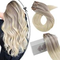 Moresoo Real Hair Extensions Clip in Human Hair 20inch Clip in Hair Extensions Lace Weft Hair Extensions Human Hair #18/22/60 Ash Blonde Mixed Blonde Hair Extensions Clip in 7Pcs 100Gram