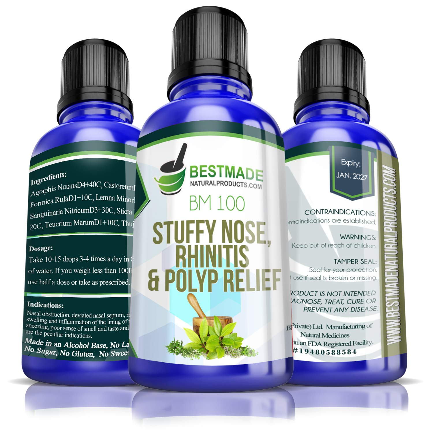 Stuffy Nose Relief & Rhinitis & Nasal Polyps BM100, Use for Sinus Pain, Congestion, Runny Nose and Seasonal Allergies Helps to Reduce Inflammation That can Cause Polyps