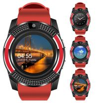 V8 Sports Smartwatch Bluetooth with Camera Message Push Touch Screen Pedometer Sedentary Reminder Sleep Monitor Instant Notification Anti-Lost Smartwatch for Android Phone (Red+Black)