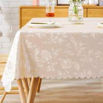 PVC Tablecloth Vinyl Oilcloth Picnic Wipeable Plastic Spillproof Peva Oil Proof Waterproof Heavy Duty Square Jacquard Tablecloths for Modern Dining Champagne Flower 54x54 Inch