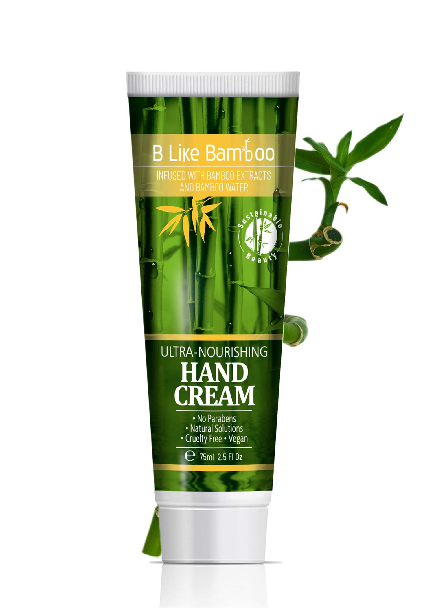 B Like Bamboo 20% Shea Butter Hand Cream with Argan Oil   Ultra Nourishing Natural Moisturizing Lotion   Ultra Rich   Repairing Dry Hands   Soothing Sensitive Skin   Cruelty Free 75ml (2.5 oz)