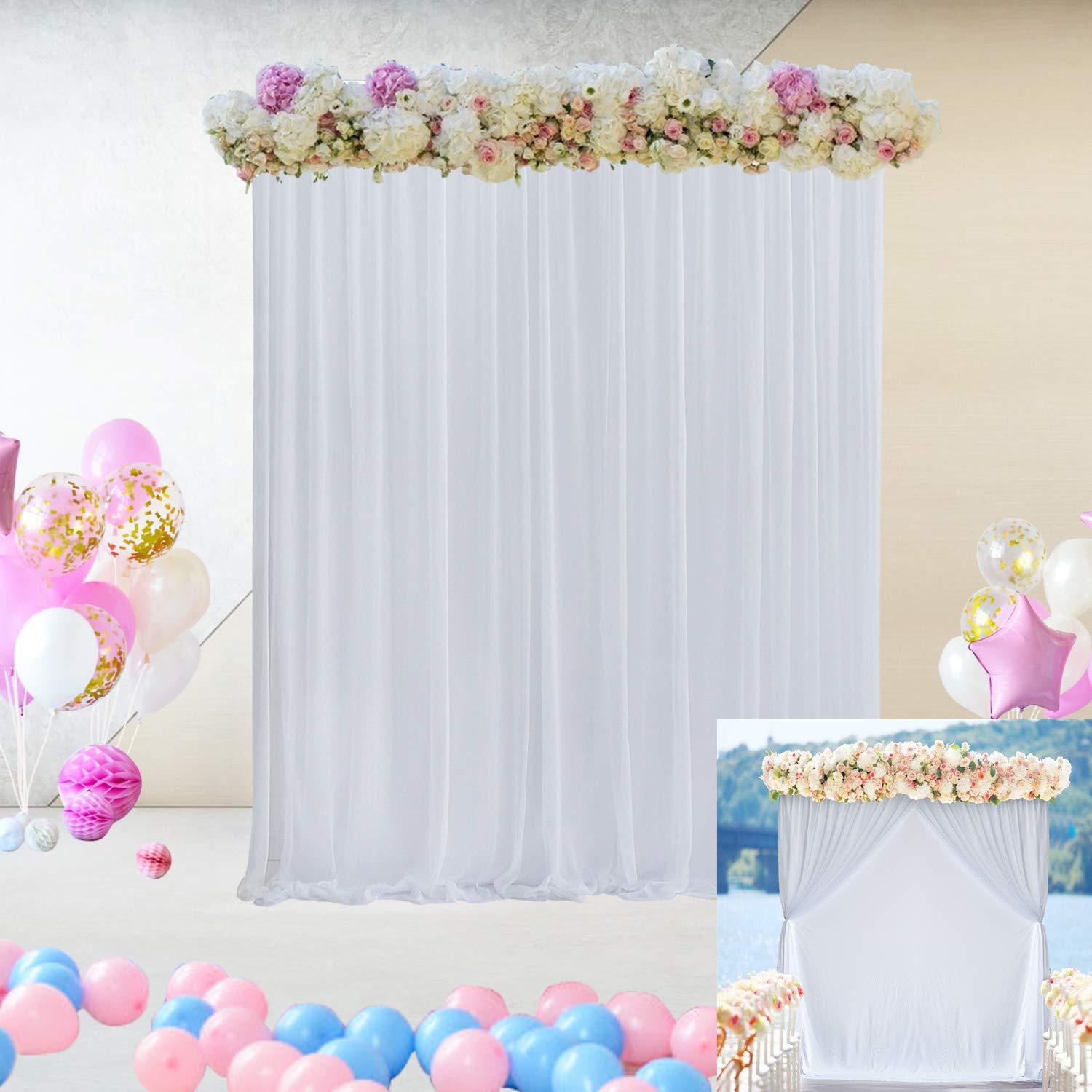 White Tulle Decorative Backdrop Curtain for Parties Baby Shower Two Layers Backdrop Drapes for Weddings Bridal Shower Photography Background Curtains for Photo Booth Birthday Party Decor 5 ft X 7 ft