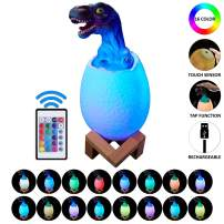 PROCYMD Rechargeable 3D Dinosaur Light with 16 Changing Color Stand Remote & Touch & Pat Control for Boys Girls Birthday Christmas Gift Room Decor