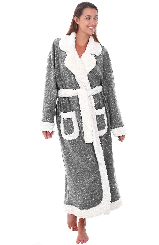 Alexander Del Rossa Women's Plush Fleece Robe, Warm Solid Color Bathrobe