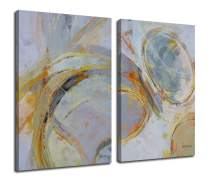 """Canvas Wall Art Abstract Circle Stripes Yellow Painting Prints, Modern Geometric Vertical 24""""x36"""" 2 Panels Blocks Pictures Gallery and Framed for Living Room Bedroom Home Office Kitchen Décor Original"""