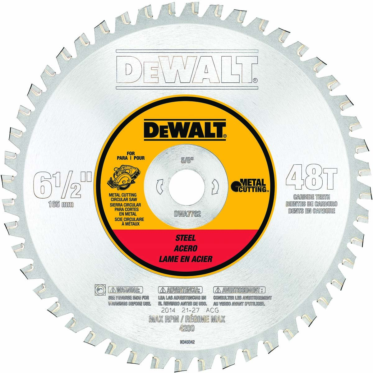 DEWALT DWA7762 48 Teeth Ferrous Metal Cutting 5/8-Inch Arbor, 6-1/2-Inch