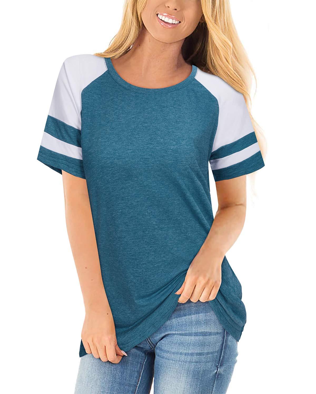STYLEWORD Women's Long/Short Sleeve Leopard Print Raglan T Shirts Color Block Casual Tunic Tops