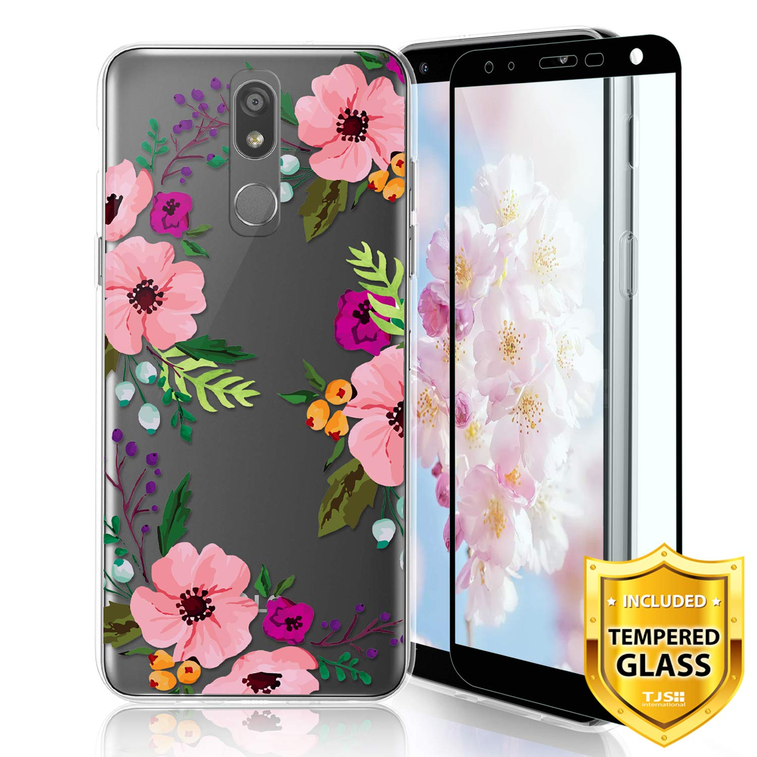 TJS Phone Case for LG K40/K12 Plus/X4/Solo LTE/Harmony 3/Xpression Plus 2, with [Full Coverage Tempered Glass Screen Protector] TPU Matte Color Transparent Clear Soft Skin Design Cover (Flower)