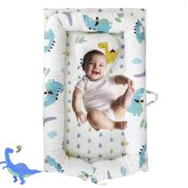 Brandream Baby Nest Bed Dinosaur, Baby Lounger Portable Newborn Bassinet Crib for Travel/Bedroom Perfect for Co-Sleeping (Dinosaur) 100% Cotton Breathable & Hypoallergenic, Baby Shower Gift