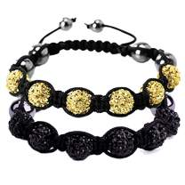 BodyJ4You 2PC Disco Ball Bracelets 6 Beads Black Yellow Pave Crystals Iced Out Jewelry