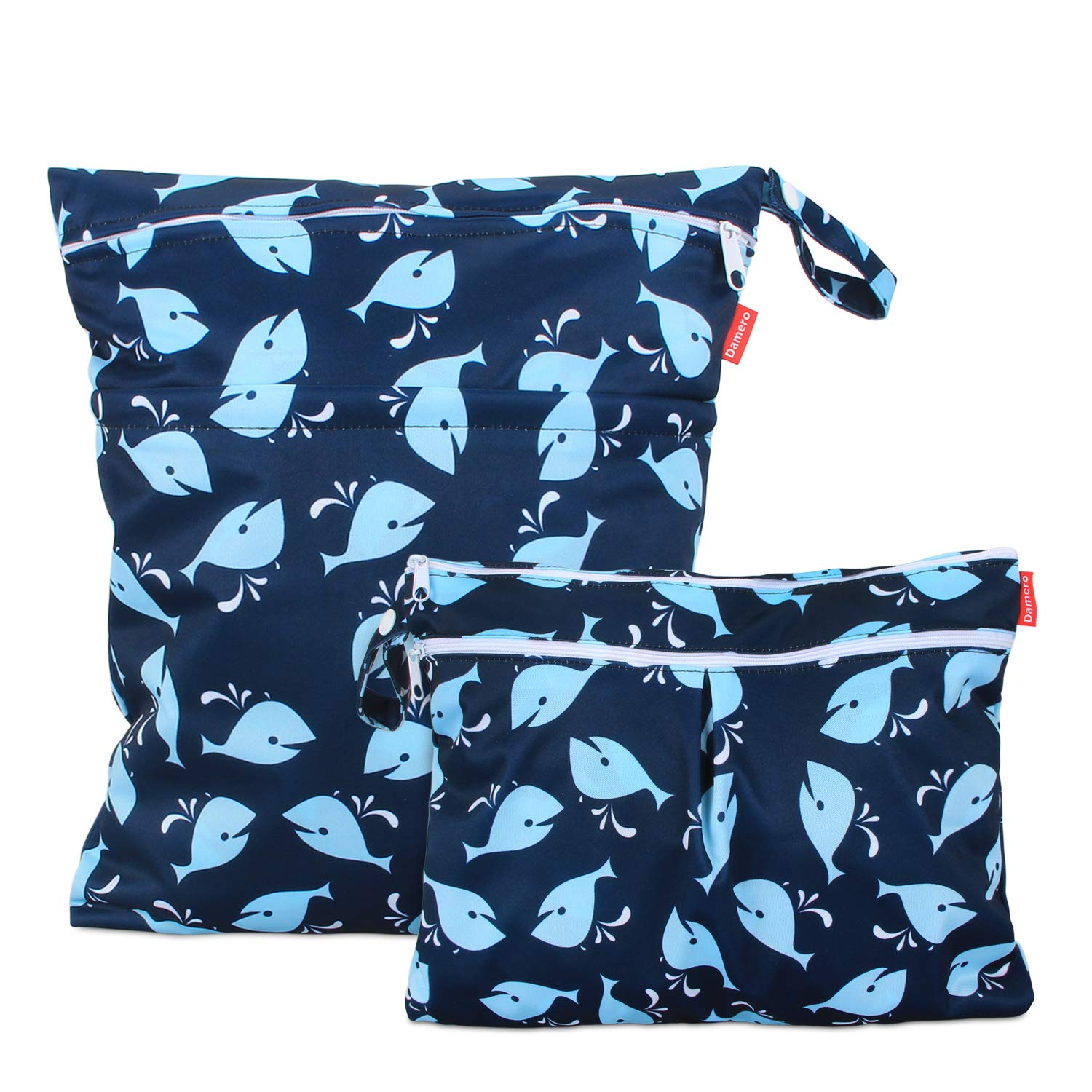 Damero 2Pcs Wet Dry Bag with 2 Zippered Pockets and Snap Handle for Cloth Diaper, Swimsuit, Clothes, Ideal for Travel, Exercise, Daycare, Roomy and Water-Resistant (Small+Large,Whale)