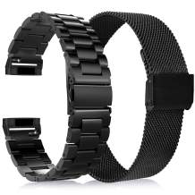 KOREDA Compatible with Fitbit Versa 3/Fitbit Sense Bands Sets, 2 Pack Stainless Steel Metal Band + Mesh Loop Replacement Bracelet Wristband Strap for Fitbit Versa 3/Sense Smartwatch (Black)