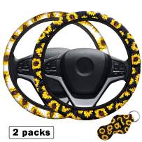 MoKo 2 Packs Steering Wheel Cover Set with Cute Sunflowers Quarter Keyring, Safe Anti-Slip Neoprene Material Stretch-on Fabric Cover Fit 14-15.5 Inch Fashionable Steering Wheel Car Accessories