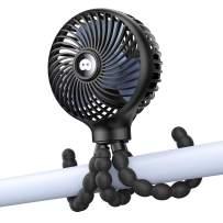 SmartDevil Stroller Fan, 3 Speed Portable Clip on Stroller Fan for Baby, Battery Operated Personal Desk Fan with Flexible Tripod, Mini Handheld Fan for Car Seat, Treadmill, Camping (Black)