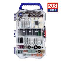 WORKPRO Rotary Tool Accessory Set, 208-Piece Multi-Functional Attachments for Easy Cutting, Grinding, Sanding, Wood Working, Carving, Universal for Major Brands, W124105A