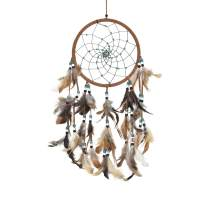 Asian Hobby Crafts Traditional Handcrafted Dream Catcher Wall Hanging with Natural Feathers – Native Brown Boho Style for Room Decor, Baby Shower, Gifting, Size – 21 x 8 inches (L x Dia)