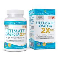Nordic Naturals Ultimate Omega 2X Mini, Strawberry Flavor - 1120 mg Omega-3 - 60 Mini Soft Gels - High-Potency Omega-3 Fish Oil Supplement - EPA & DHA - Promotes Brain & Heart Health - 30 Servings