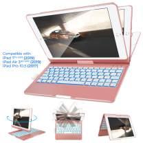 IVSO Keyboard Case for iPad 10.2 2019,iPad Air 10.5 2019, iPad Pro 10.5 2017-Backlit-360 Rotatable-Wireless-iPad 7th Generation Case with Keyboard-iPad Air 3rd(360-Backlit-Pink)