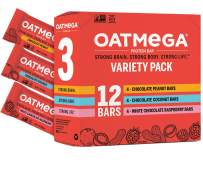 Oatmega Protein Bars, Variety Pack, 12-Count of Chocolate Peanut Butter, White Chocolate Raspberry and Chocolate Coconut