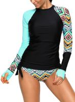 SailBee Women's UV Sun Protection Long Sleeve Rash Guard Wetsuit Swimsuit Set