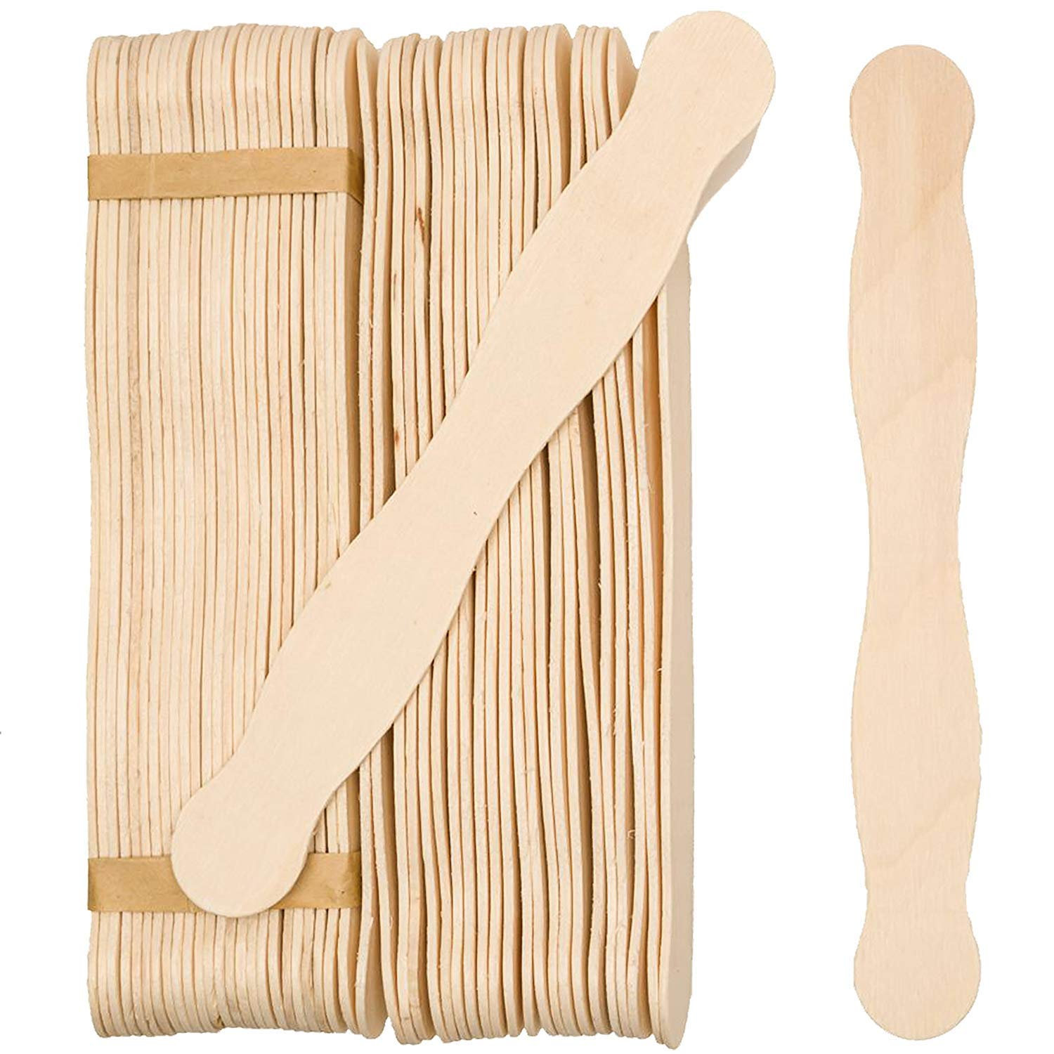 """Wooden 8"""" Fan Handles, Wedding Programs, or Paint Mixing, Pack 500, Jumbo Craft Popsicle Sticks for Auction Bid Paddles, Wooden Wavy Flat Stems for Any DIY Crafting Supplies Kit, by Woodpeckers"""